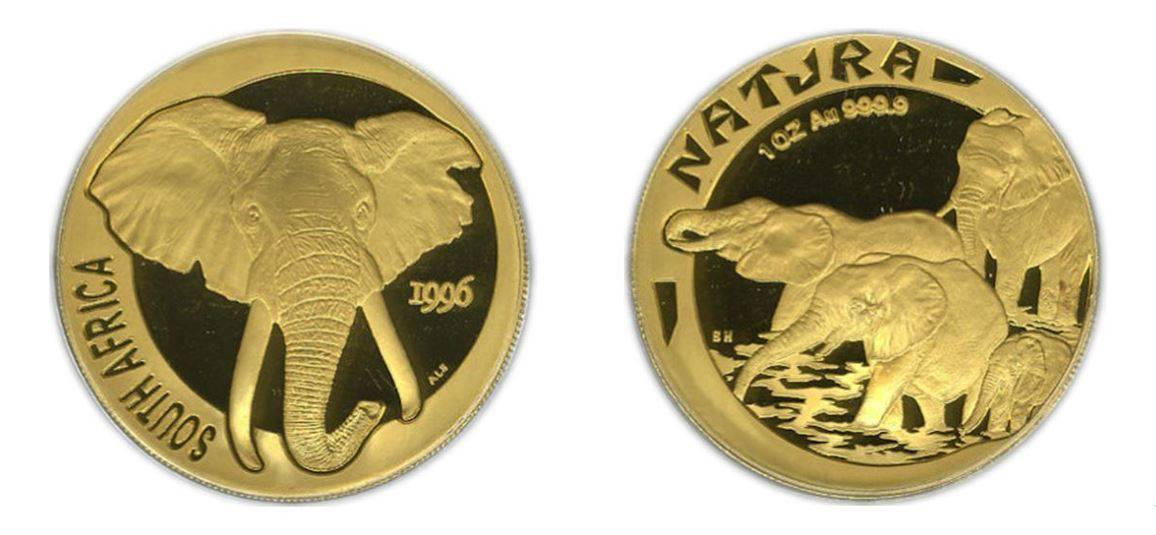 "1996  1 Natura (1 oz)  ""Elephant"" Gem Proof"