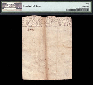 1690 20s Note FR. MA-006  20 Shillings Massachusetts Colonial Note PMG VF30 NET