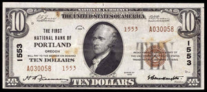 1929 $10 Note Portland – Oregon – CH 1553 – FR 1801-2 – VF20