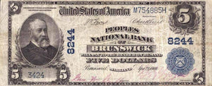 1902 – $5 Note – Brunswick – Maryland – CH 8244 – FR 599 – VF20