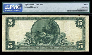 1902 – $5 Note – Los Angeles – California – CH 6545 – FR 587 – PMG Ch F15