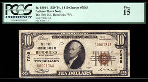 1929 $10 Note Hendricks – West Virginia – CH 7845 – FR 1801-1 – PCGS F15
