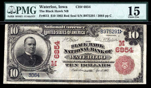 1902 - $10 Note - Waterloo - Iowa - CH 6584 - FR 613 - PMG Ch F15