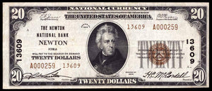 1929 – $20 Note – Newton – Iowa – CH 13609 – FR 1802-2 – VF20