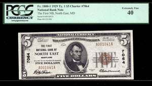 1929 $5 Note North East – Maryland – CH 7064 – FR 1800-1 – PCGS EF40