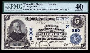 1902 - $5 Note - Waterville - Maine - CH 880 - FR 598 - PMG XF40