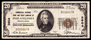 1929 $20 Note Philadelphia – Pennsylvania – CH 3604 – FR 1802-1 – VF20