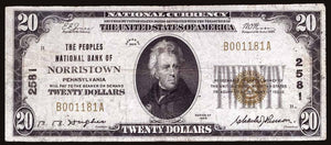 1929 – $20 Note – Norristown – Pennsylvania – CH 2581 – FR 1802-1 – F/VF15