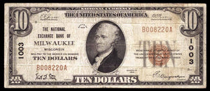 1929 $10 Note Milwaukee – Wisconsin – CH 1003 – FR 1801-1
