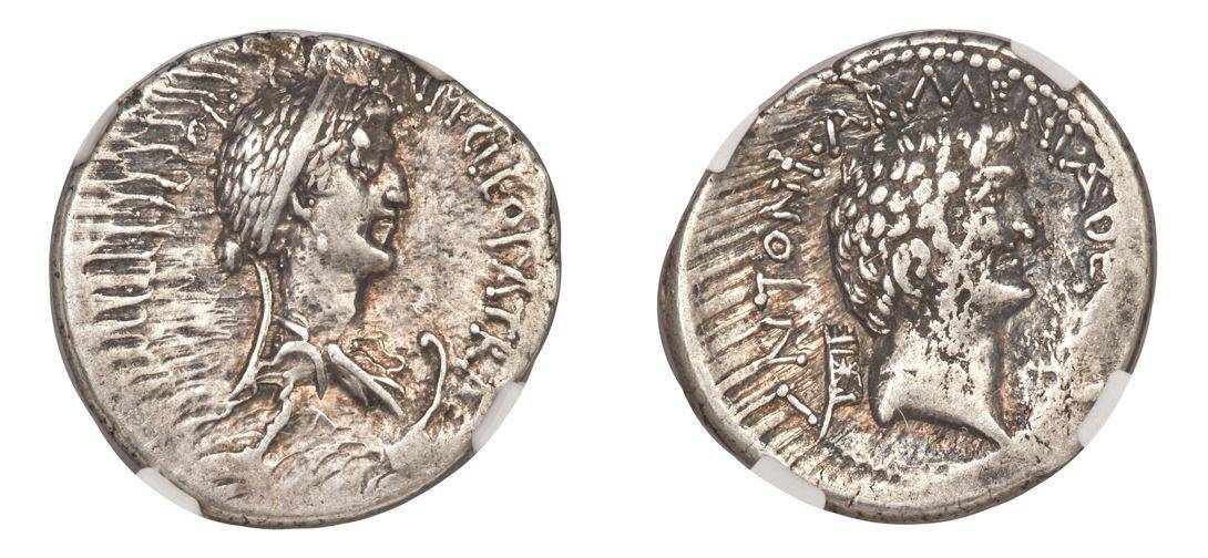 34-32 BC Marc Antony and Cleopatra VII of Egypt, rulers of the East (37-30 BC) AR denarius NGC Ch VF 3/5 - 4/5