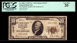 1929 $10 Note Sanford – Florida – CH 13157 – FR 1801-1 – PCGS VF20