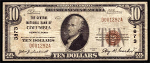 1929 $10 Note Columbia – Pennsylvania – CH 3873 – FR 1801-1 – F/VF15