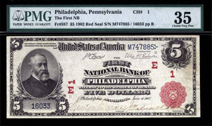 1902 $5 Note Philadelphia – Pennsylvania – CH 1 – FR 587 – PMG Ch VF35