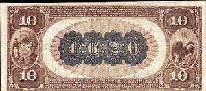 1882 – $10 Note – Berlin – Wisconsin – CH 4620 – FR 485 –  VF30+