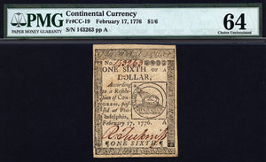 1776 $1/6 Note FR. CC-019 Continental Currency PMG CU64