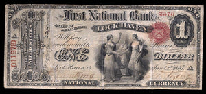 1865 – $1 Note – Lock Haven – Pennsylvania – CH 507 – FR 382 – F12