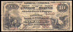 1882 $10 Note New York – New York – CH 1000 – FR 480 – VG/F10