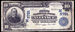 1902 - $10 Note - Alliance – Ohio – CH 3721- FR 618 – VF20