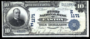 1902 $10 Note Easton – Pennsylvania – CH 1171 – FR 624 – F/VF15