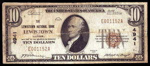 1929 – $10 Note – Lewistown – Illinois – CH 4941 – FR 1801-1 – F12