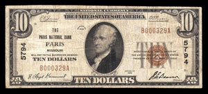 1929 $10 Note Paris – Missouri – CH 5794 – FR 1801-1 – F15+