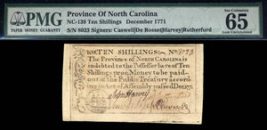 1771 10s Note FR. NC-138 December 1771 North Carolina Colonial Note PMG GU65 EPQ