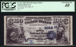 1882 $100 Note Elgin – Illinois – FR 567 – CH 2016 – PCGS EF40