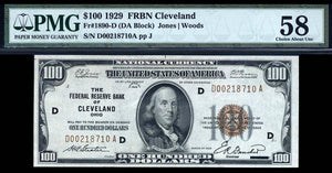 1929 $100 Note FR. 1890-D The Federal Reserve Bank of Cleveland PMG Ch AU58