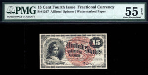 1863 - $0.15 Note - FR 1267 Fourth Issue - Fractional Currency - PMG AU55 EPQ