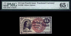1863 - $0.15 Note - FR 1269 Fourth Issue - Fractional Currency - PMG GU65 EPQ