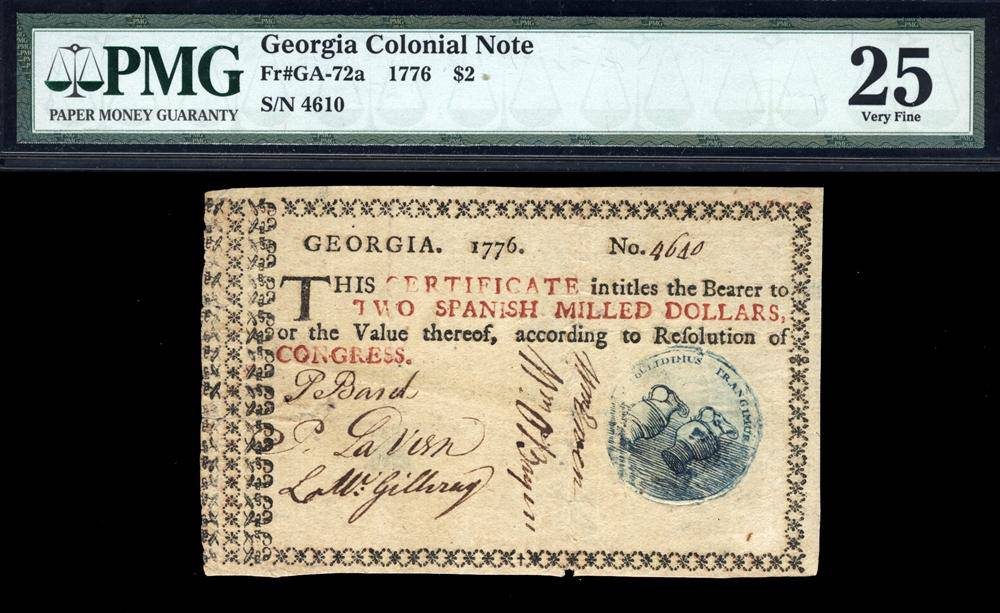 1776 $2 Note FR. GA-072a Georgia Colonial Note PMG VF25