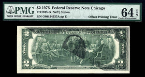 1976 $2 Note FR. 1935-G Error Federal Reserve Note Chicago PMG CU64 EPQ