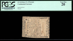 1776 $2/3 Note FR. CC-022  Continental Currency PCGS VF20