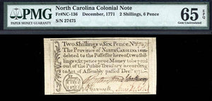 1771 2s & 6p North Carolina Colonial Note FR. NC-136 PMG GU65 EPQ