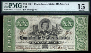 1861 - $20 Note - T 21 Confederate States of America PMG CF15