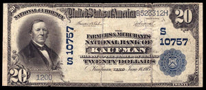 1902 $20 Note Kaufman – Texas – CH 10757 – FR 658 – VF20