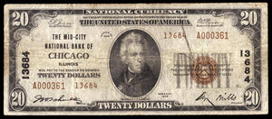 1929 $20 Note Chicago – Illinois – CH 13684 – FR 1802-2 – F12