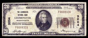 1929 – $20 Note – Leominster – Massachusetts – CH 3204 – FR 1802-1 – F/VF15