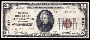 1929 – $20 Note – New Brunswick – New Jersey – CH 587 – FR 1802-2 – VF20