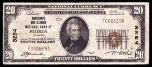 1929 $20 Note Peoria – Illinois – CH 3254 – FR 1802-1 – VF20