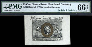 1863 $0.25 Note FR. 1283SP Second Issue Face Specimen Fractional Currency PMG GU66 EPQ