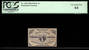 1863 - $0.03 Note - Fractional Currency - FR 1226 Third Issue - PCGS Very Ch New 64