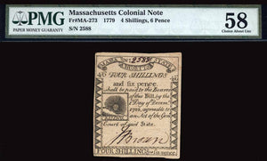 1779 4s/6p Massachusetts Colonial Note FR. MA-273 PMG Ch AU58