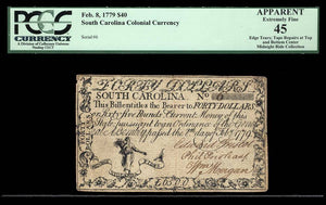 1779 $40 Note FR. SC-153 Feb. 8; 1779 South Carolina Currency PCGS EF45 Apparent