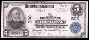 1902 $5 Note Claremont – New Hampshire – CH 596 – FR 598 – F12