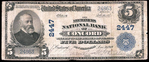 1902 $5 Note Concord – New Hampshire – CH 2447 – FR 607 – Fine 12