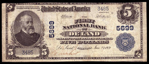1902 $5 Note De Land – Illinois – CH 5699 – FR 607 – F/VF15
