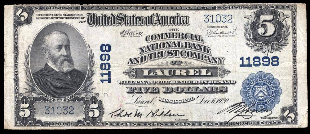 1902 $5 Note Laurel – Mississippi – CH 11898 – FR 607 – VF20