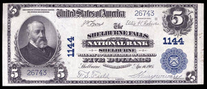 1902 $5 Note Shelburne Falls – Massachusetts – CH 1144 – FR 598 – VF35+