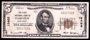 1929 $5 Note Fairview – New Jersey – CH 12465 – FR 1800-1 – VF20